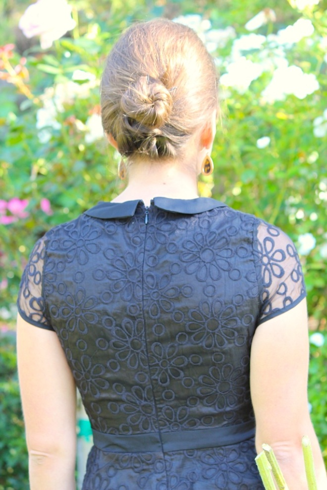 black flower lace dress