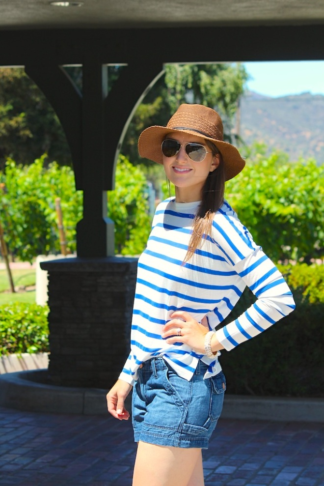 jean shorts + stripes